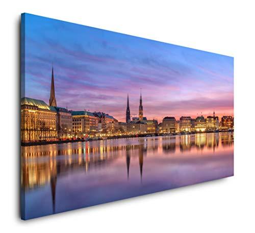 Paul Sinus Art Panorama Hamburg 120x 60cm Panorama Leinwand Bild XXL Format Wandbilder Wohnzimmer Wohnung Deko Kunstdrucke