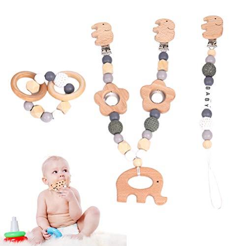 Chic Gadget 3 cadenas para cochecito con colgante de cesta de la compra, cadena para chupete y pulsera, diseño de elefante para cochecito de bebé, ganchillo con anillo de dentición de madera