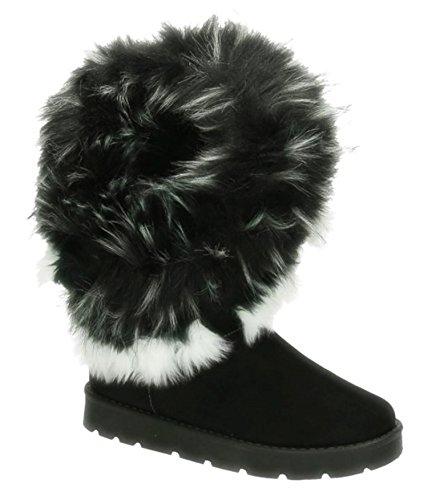King Of Shoes Warm Gefütterte Bequeme Damen Stiefeletten Stiefel Boots Flache Schlupfstiefel Winter Langschaft 896 (37, Schwarz)