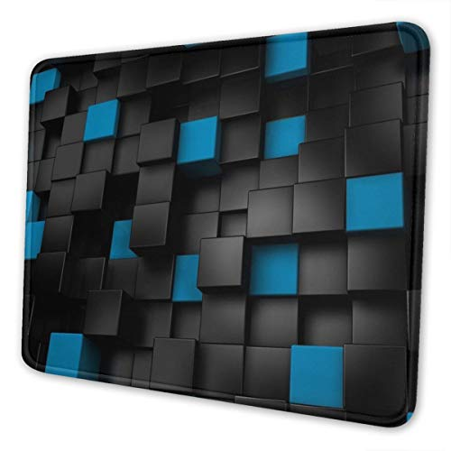 3D Design Mouse Pad with Stitched Edge, Black Blue Rectangle Design Mousepad Non-Slip Rubber Large Gaming Mouse Pad for Laptop, Computer & Office, 11.8 X 9.8 X 0.12Inches