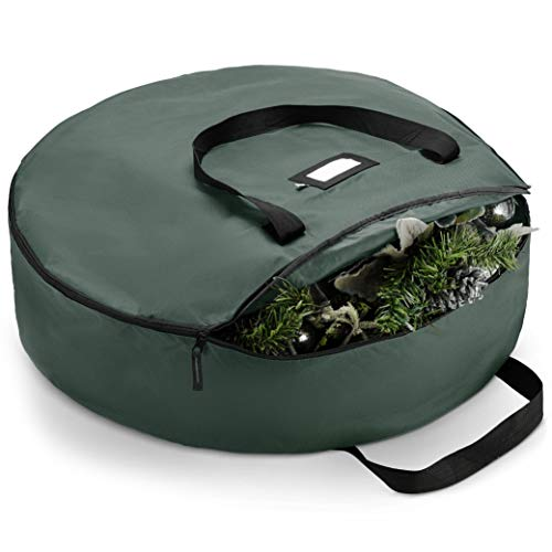 """ZOBER Premium Christmas Wreath Storage Bag 24"""" - Dual-Zippered Storage Container & Durable Handles, Protect Artificial Wreaths - Holiday Xmas Bag Made of Tear-Proof 600D Oxford - 5-Year Warranty"""