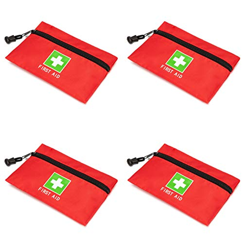 Jipemtra Red Emergency Bag First Aid Bag Small Empty Travel Rescue Bag Pouch First Responder Storage Medicine Pocket Bag for Car Home Office Kitchen Sport Ourdoors Bag Only (8.3x5.5