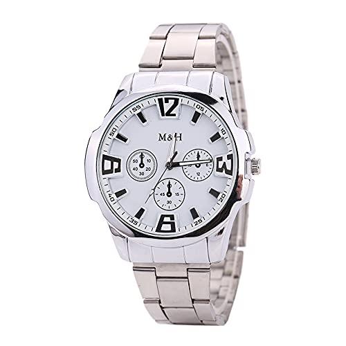 GJHBFUK Ver Reloj De Pulsera Hombres Números árabes Números Reloj Aleación De Aleación Cuarzo Reloj De Pulsera Analógica (Esfera Blanca De Plata)