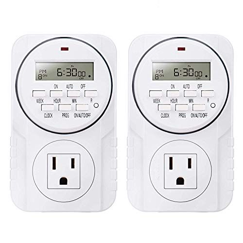 2 Pack Upgrade 7-Day Heavy Duty Smart Digital Programmable Timer Outlet with LCD Display, Set Up to 8 Different On/Off Programs for Multipurpose