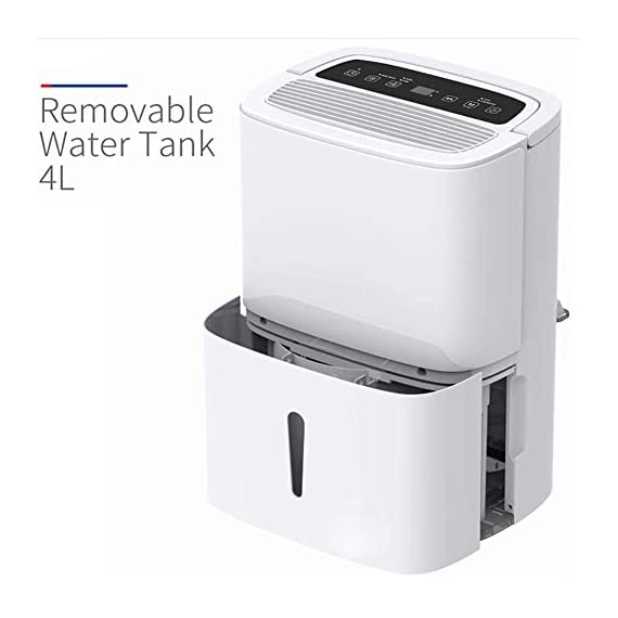 WQSFD Dehumidifier,9 Gallons/Day Spaces 1500 Sq,Sleep Mode,for Damp, Mould, Moisture in Home, Kitchen, Bedroom, Caravan… 7 - Our dehumidifier removes up to 30 pints (2012 DOE Standard) of water a day and adjust humidity from 35% to 85%, Perfect for use in Home, Basement, Cellar, Garage, Bedroom, Bathroom. Please note: depending on the climate in your area, as well as room size, you may need to purchase a larger unit for best effect. - This Energy Star certified dehumidifier is fit to quickly and effectively absorb moisture with minimal energy consumption in medium to large rooms, without racking up your energy bill. 48 dB peak sound so that you hardly notice it's there. In general, 50 decibels is probably just as loud as normal conversation. - Adjust to the ideal dehumidification setting, then let it run its continuous 24-hour cycle until the tank is full, it will automatically shut-off (Water Tank Capacity 4L) . If you don't have time, you can choose continuous drainage mode. You can use the gravity drain hose connection to empty water into your sump pump or floor drain, eliminating the need to empty the collected water by hand every few hours.