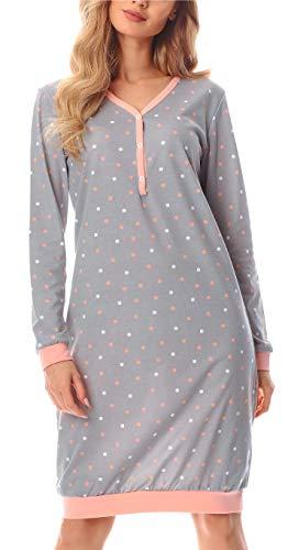 Merry Style Damen Nachthemd MS10-179 (Grau/Punkten, S)