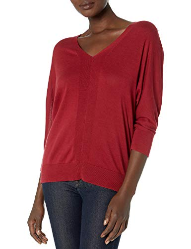 Chaps Women's Plus Size Soft Cotton 3/4 Sleeve V-Neck Sweater, Refined Ruby, 2X
