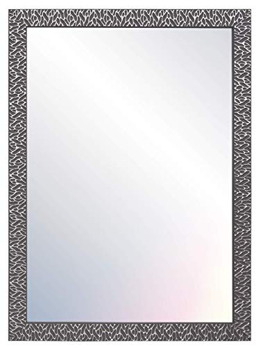 Chely Intermarket - Espejo de Pared Cuerpo Entero 60x80cm (Marco Exterior 68x88cm) (Gris/Raya Plateado) MOD-156   Forma Rectangular para salón, recibidor, Ideal para decoración.(156-60x80-3,05)