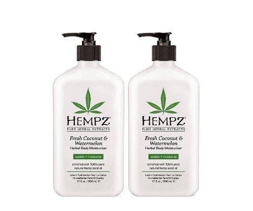 Hempz Hempz herbal body moisturizer, pearl white, fresh coconut/watermelon 17 oz pack of 2, 17 Ounce
