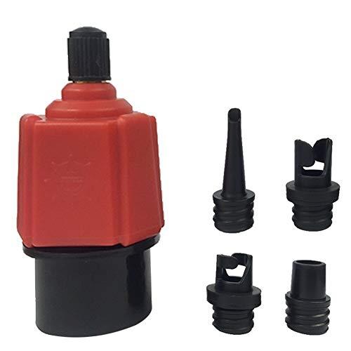 Adaptador válvula de la bomba de aire de la válvula multifunción SUP Accesorios Adaptador Con 4 Ruedas Boquillas for Piscina Juguetes kayak bote inflable barco del coche cama inflable Monitor de Presi