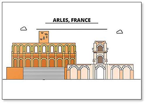 Arles, Romeinse en romaanse monumenten minimalistische Illustratie Koelkast magneet