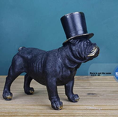 Bulldog Inglés/Escultura Terrier   Hecho a Mano y Pintado   Estatua de Perro con Retrato de Mascota, Figura Conmemorativa/decoración, Estatua de jardín / 5.7x2.8x5.5inches, 4.3x2.75x6.1inches Ado