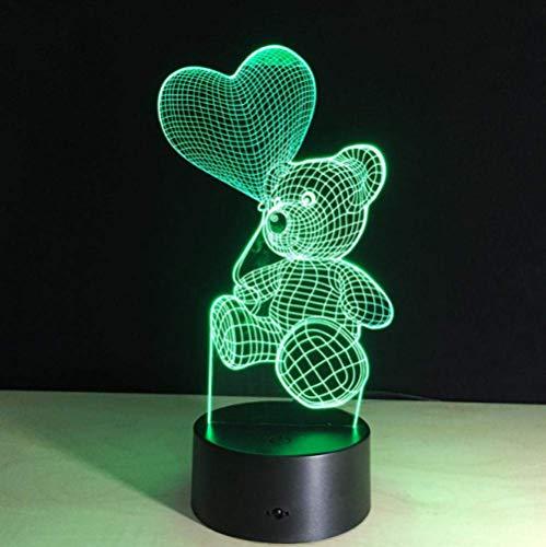 Ilusión óptica 3D Luz de noche Lámpara de humor Love Bear Shape USB LED Lámpara de mesa de escritorio 7 colores Interruptor táctil intermitente Decoración de dormitorio Iluminación para niños Reg
