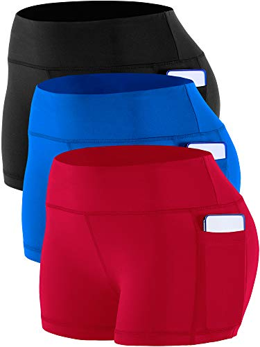 CADMUS Women's High Waist Workout Running Shorts with Pocket,3 Pack,09,Black,Blue,Red,Large