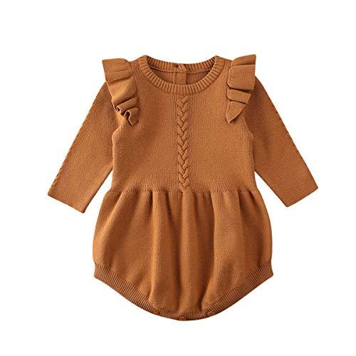 Geagodelia Chándal de invierno para bebé, de manga larga, para niña, de punto, cálida. marrón 2-3 Años