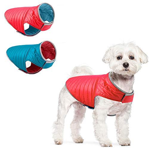 ACKERPET Reversible Dog Winter Jacket, Reflective Dog Coat Waterproof Winter Pet Vest, Warm Cold...