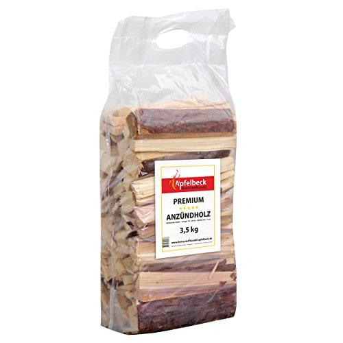 Premium Anzündholz Kiefer 3,5 kg - 18-20cm - ideal für Kamin, Holzofen, Grill und Feuerschalen - trocken - mit praktischem Tragegriff