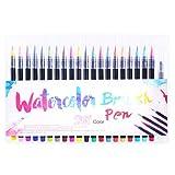 Bolígrafo de acuarela de punta blanda, juego de bolígrafo de acuarela de 20 colores, pincel de pintura de arte pintado a mano, lápiz de acuarela de ilustración de pintura de acuarela, con un bolígrafo