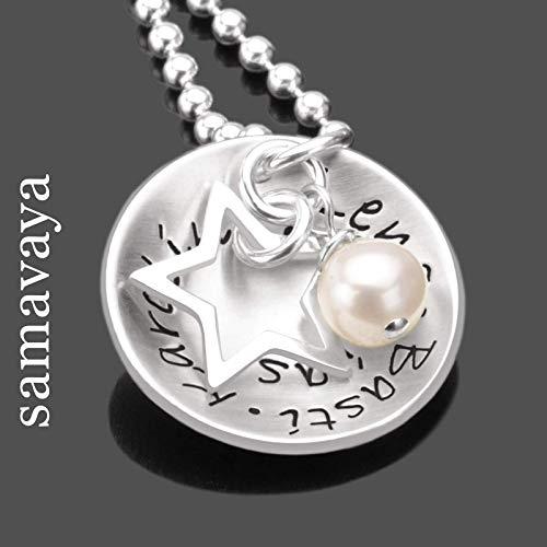 Silberkette Namensgravur Familienkette MY FAMILY STAR 925 Silber individuelle Kette Schmuck mit Gravur Sternanhänger