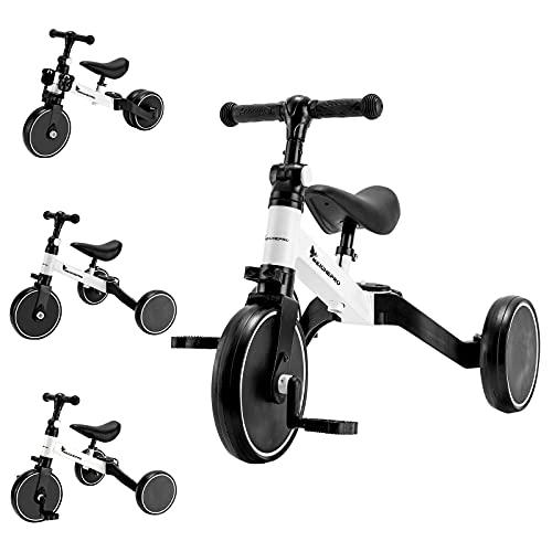 MEICHEPRO 三輪車 子供用 3 in1 自転車 ペダルなし三輪車 ベビーウォーカー 1-5歳子供用 高さ調整可能    (ホワイト)