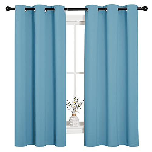 NICETOWN Window Treatment Thermal Insulated Solid Grommet Room Darkening Curtains/Drapes for Bedroom (Set of 2 Panels, 42 by 63 inches Long, Teal Blue=Light Blue)