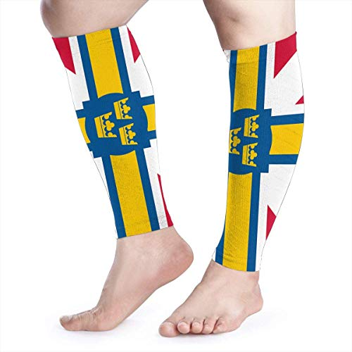 Kompressions-Ärmel für Herren und Damen, skandinavische Flagge, farbige Beinstütze, Wadenschoner, Schmerzlinderung beim Laufen