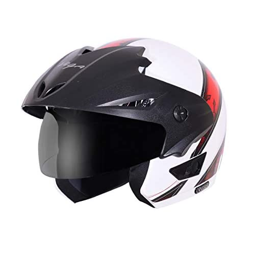 Vega Cruiser Open Face Graphic Helmet with Peak Arrows (White and Red, L (head size: 58-59 cm))