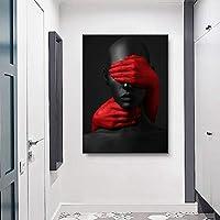 抽象黒人女性ポスターモダンキャンバス絵画額縁アートプリントブラックモダンリビングルームの家の装飾(30x50cm)フレームなし