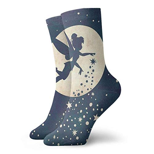 New Year Special Mens Crew Socks Tinkerbell Painting Compression Socks White Cushion Tube Socks