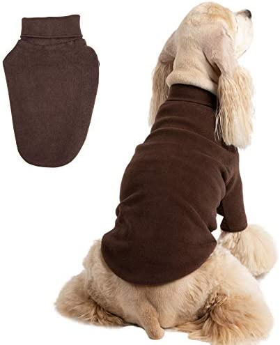 BLOOMING PET Plain Turtleneck Pullover T Shirt with Short Sleeves Sweatshirt for Medium Dog product image