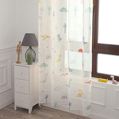 DALINA 2 Piezas Cortina Visillo Translucido de Dormitorio Infantil Juvenil Dos Paneles de 140x260cm con Ojales Plateados para Sala de Estar Cuarto de Niño Comedor Habitación Patrón de Dinosaurio