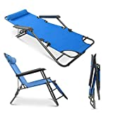 Outdoor Zero Gravity Lounge Chair Recliners Adjustable Foldable Garden Lounger for Beach Garden Family Pool (Blue)
