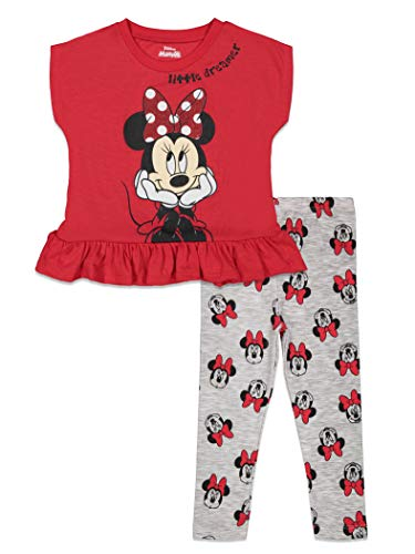 Disney Minnie Mouse Toddler Girls Short-Sleeve Top and Leggings Set FieryRed 3T