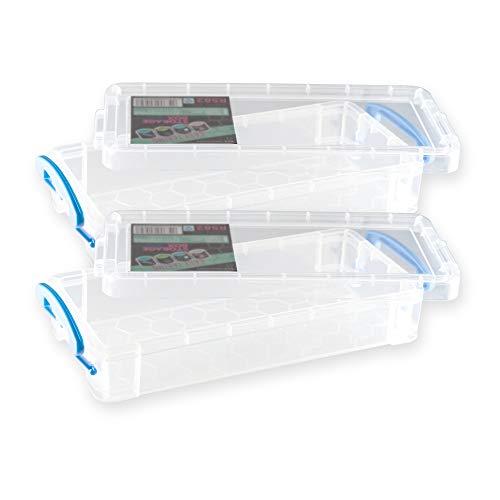 2 Stück Aufbewahrungsbox transparent 220 x 100 x 45 mm LxBxH mit Schnellverschluss Griff (blau)