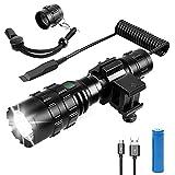 FUNANASUN Tactical Flashlights 1600 Lumens LED Weapon Light Rechargeable Tactical Flashlight with M-lok Picatinny Rail Mount for Hunting Camping