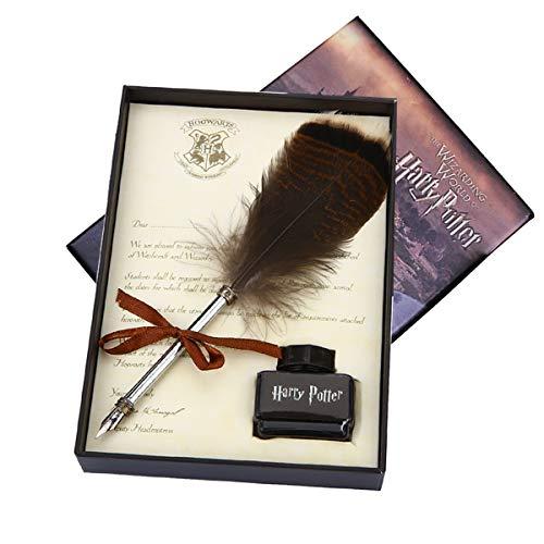 Set de pluma de búho para fans de Harry Potter. Pluma para caligrafía con tinta. Regalo para niños, amigos, Navidad, cumpleaños, etc., color Juego de bolígrafos de búho
