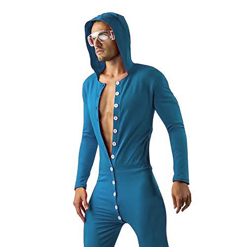MVPKK Pijamas Sexy De Mono Hombres,Botones Funcionales Con Botones Estampados Pijamas Con Tapa Para Adultos Pijamas De Tentación, Pijamas De Ropa Interior Sexy De Moda Para Hombres (Azul, L)