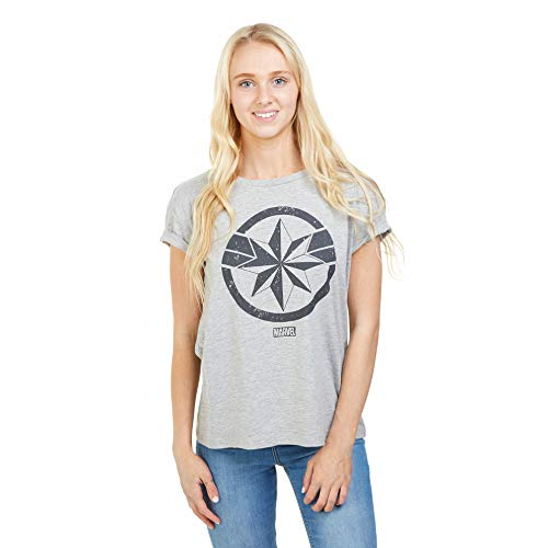 Marvel Avengers Captain Camiseta, Gris (Grey Marl SPO), 44 (Talla del Fabricante: X-Large) para Mujer