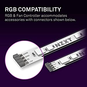 NZXT RGB & Fan Controller - AC-2RGBC-B1 - Two RGB Lighting Channels - Three Digital Fan Channels - Powered by CAM V4 Software - Magent/Velcro Mounting - Internal PC Lighting Controller - Black