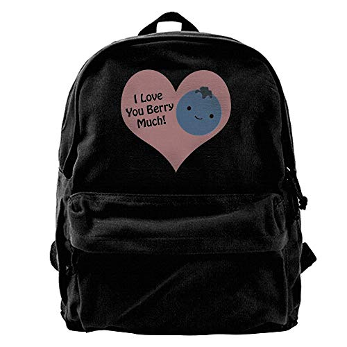 AiguanI Love You Berry Much Blueberry Vintage Black Canvas Backpack