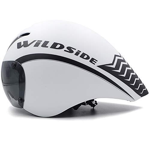 JJIIEE Casco da Bici Professionale con Occhiali magnetici, Casco da Triathlon TT per Bici da Strada, cronometro per Uomo Donna, Regolazione, Sistema aerodinamico,D