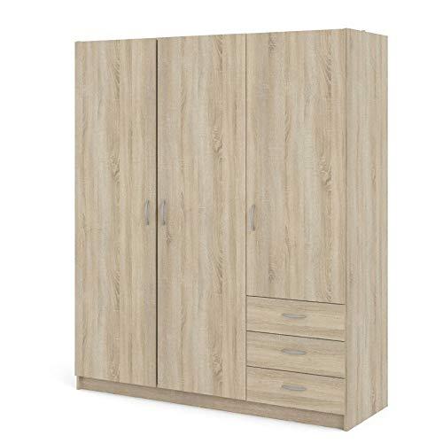 PKline 3-deurs Kledingkast Fox slaapkamer schuifladen kast eiken structuur decor