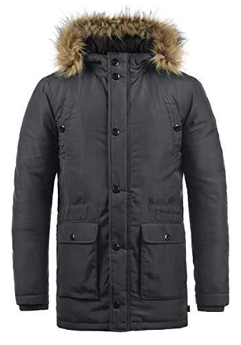 Blend Rene Herren Winter Jacke Parka Mantel Winterjacke gefüttert mit Kunst-Fellkapuze, Größe:L, Farbe:Ebony Grey (75111)