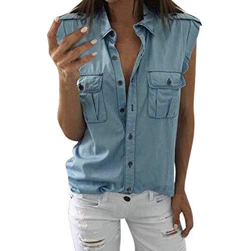 Petalum Damen Bluse Jeanshemd Ärmellos V Ausschnitt Cowboy Loose Fit Weste Tank Tops mit Knopfleiste