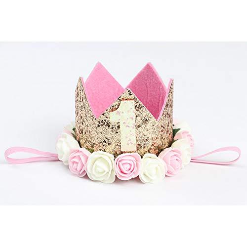 SiMin 1 Jahr Geburtstag Baby Krone,Baby Geburtstagskrone Haarschmuck Stirnband Haarband Prinzessin Für Babys
