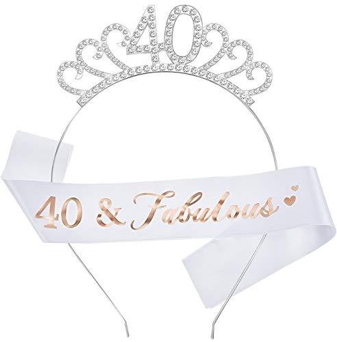 Conjunto de Disfraces de Feliz Cumpleaños, Incluye Tiara de Cristal Corona de Cumpleaños y Faja para Favores de Cumpleaños (Estilo de 40 Años)