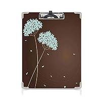 クリップボード ブラウンとブルー プレゼントA4 バインダー 渦巻きラインのある花のデザイン落ち葉秋をイメージした装飾的なブラウンペールシーフォームクリーム 用箋挟 クロス貼 A4 短辺とじ