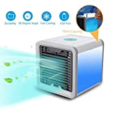 HNESS Portable Compact Air Cooler Fan Cool,Humidifies & Purifies Air with 7 Colors Changing Led...