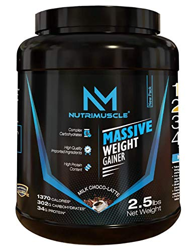 NUTRIMUSCLE MASSIVE WEIGHT GAINER - 2.5 LBS - 1.134 KGS - CHOCO LATTE FLAVOUR - FOR WEIGHT GAIN - MADE IN INDIA