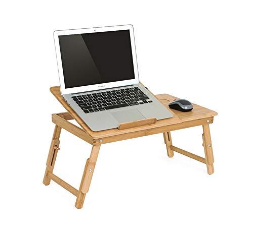 Cnnni Verstellbarer Bambusständer Laptop Schreibtisch, PC Tisch für Bett Schlafsofa Tablett Picknicktisch Studiertisch, Lesbare Lesetafel Für Sofa Buch Magazin Und Frühstück